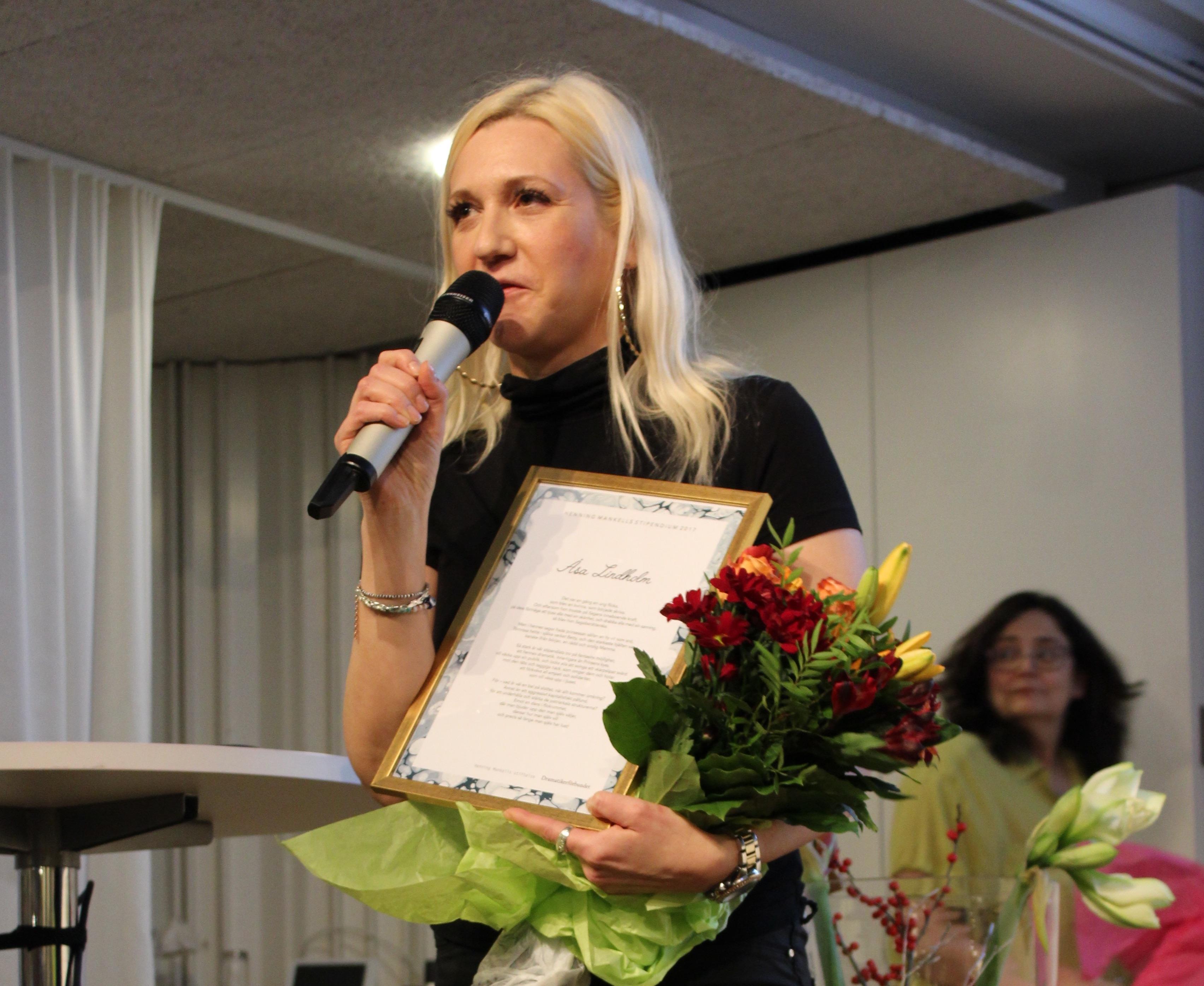 Åsa Lindholm 2017 års Mankell-stipendiat